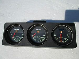 Vintage Stewart Warner 2'' Triple Gauge Set Water Temp Oil Amp Made in USA