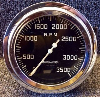 Vintage Stewart Warner 3 500rpm Tachometer Tach Gauge for Flathead Ford Hot Rod