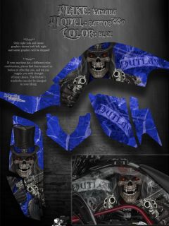 "Yamaha Raptor 660 Blue Model Graphics ""The Outlaw"" Decals Fender Parts 660R"