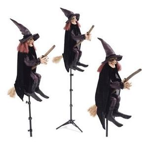Set of 3 Realistic Posable Witches on Brooms Halloween Outdoor Yard Stakes New