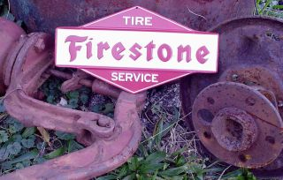 Firestone Tires Embossed Metal Sign Chevrolet Ford Dodge Chrysler AMC
