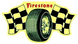 Firestone Tire Checker Decal Flathead Hot Rod Rat Drag Flag Leadsled Deuce 32