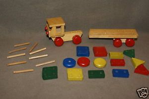 Wooden Toy Truck and Wood Blocks Building Blocks