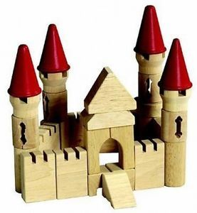 Guidecraft G6103 Kids Wood Building Castle Block Set Wooden Blocks Toys New