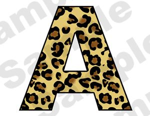 Leopard Spots Alphabet Letter Name Jungle Baby Nursery Teen Wall Stickers Decals