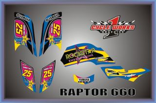 Yamaha Raptor 660R Custom Graphics Kit Decal Set 660