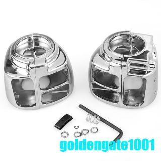 2X Chrome Switch Housings Cover for Harley Davidson Dyna Softail Sportster 96 06