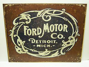 Vintage Replica Tin Metal Sign Ford Motor Co Detroit MI Tool Garage Chevy