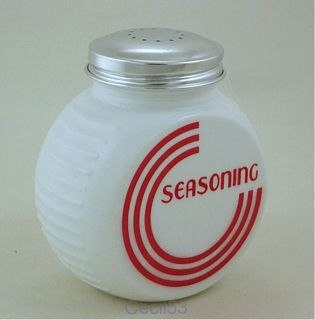 White Art Deco Round Glass Seasoning Shaker Jar w Red Ships Free
