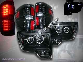 09 12 Ford F150 Dual Halo CCFL LED Projector Headlights LED Tail Lights Black