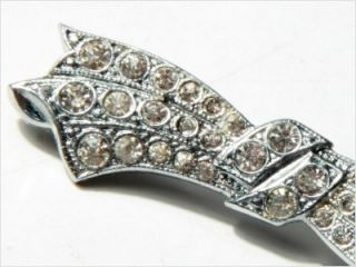 Antique Art Deco Bow Rhinestones Rhodium Brooch Pin