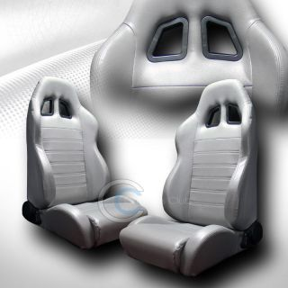 Universal SP Gray PVC Leather Car Racing Bucket Seats Sliders Pair Nissan Mazda
