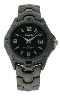 Gruen PIM344M Men's Black Round Analog Date Gun Metal Bracelet Watch