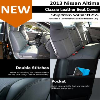 Clazzio Custom Perfect Fit Leather Seat Cover Black 2013 Nissan Altima 4DS SV