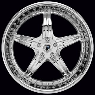 "Pair of 22"" asanti AF 144 Chrome 3 Piece Rear Corvette Wheels Rims 2"