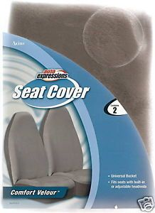 2 Ford Chevy Car Truck Bucket Seat Covers Velour Gray