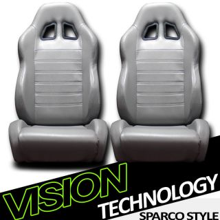 2X SP Style Grey PVC Leather Reclinable Racing Bucket Seats Sliders Pair Nissan