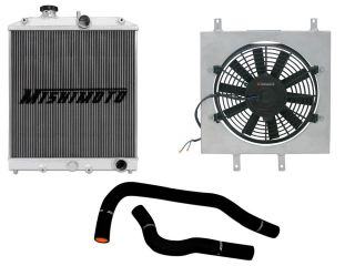 Mishimoto 1992 2000 Honda Civic B16 Swap Radiator Fan Shroud and Black Hoses