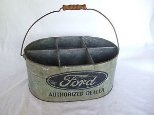 Ford Dealer Galvanized Metal Tool Bin Parts Can Bucket Oil Can Sign Vintage Look