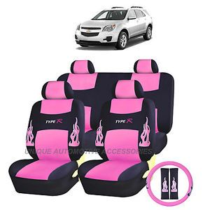 Chevy Chevrolet Camaro Pink Flames Semi Custom Complete Seat Covers 13pc Set