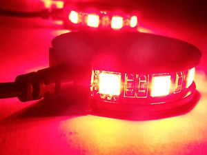 4 Red LED Motorcycle Wheel Pod Lights Custom Rim Dub Accent Lites SMD Honda CBR