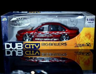 1996 Chevrolet Impala SS Dub City Big Ballers Diecast 1 18 Scale Red w Flames