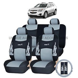 Chevy Chevrolet Camaro Gray Flames Semi Custom Complete Seat Covers 13pc Set