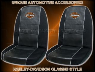 2pc Harley Davidson Black Bucket Seat Covers