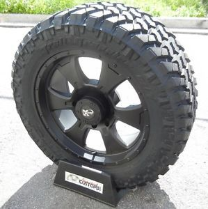 "20"" Black Procomp 7098 Wheels Rims 33"" Nitto Trail M T Tires Dodge RAM 1500 Hemi"