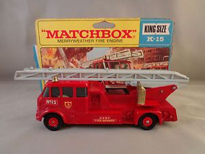 Matchbox Lesney England K 15 King Size Merryweather Fire Engine Mint in Box