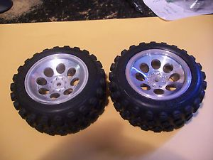 Vintage Kyosho 4WD Cars Nice Pair of Original Chrome Wheels with Tires Optima