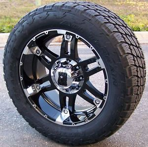 "20"" Black XD Spy Wheels Nitto Terra Grappler Tires Sierra Tahoe Silverado 1500"