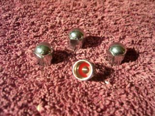 Vintage 4 Chrome Acorn Valve Stem Seal Caps Auto Truck Tire Wheel Accessory