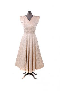 Vintage 50s Marshall Fields Cream Satin Feather Brocade Party Cocktail Dress S