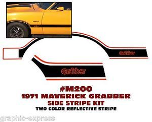 M200 1971 Ford Maverick Grabber Side Stripe Decal Two Color Reflective