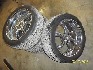 22 inch Chrome Wheels Rims w Caps Tires Set 4 Escalade Avalanche Suburban AFX