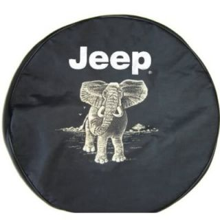 Sparecover® Brawny Series Jeep Logo 30 Elephant Onheavy Black Denim Tire Cover