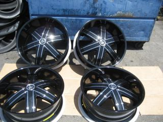 "24"" Dub Tremlo Gloss Black Wheels Rims Ford Chevy GM Lexani Forgiato"