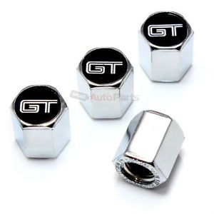 4 Ford Mustang GT Logo Chrome Tire Wheel Air Pressure Stem Valve Caps Covers