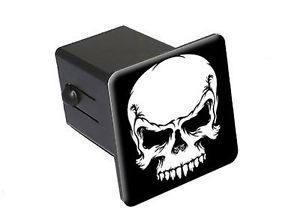 "Tribal Skull White on Black 2"" Tow Trailer Hitch Cover Plug Insert"