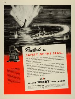 1943 Ad Joshua Hendy Iron Works WWII War Production Liberty SHIP Engines Navy