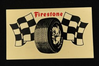 Vintage 1960 70's Firestone Tire Auto Travel Window Luggage Hot Rod Decal