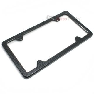 Black Carbon Fiber Custom License Plate Tag Snap Fit Frame for Auto Car Truck