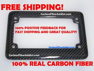 1x1 Weave Pattern 100 Real Carbon Fiber License Plate Frame for Motorcycle