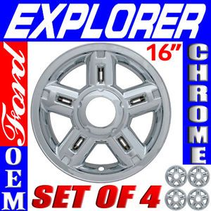 "4 PC Set Ford Explorer 16"" Chrome Wheel Skins Rim Covers Hub Caps Wheels"