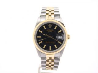 Mens Rolex Date 2Tone 14k Gold Stainless Steel Watch w Black Diamond Dial