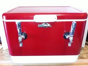 Red Steel Belted Draft Keg Beer Jockey Box Cooler Kegerator with 70 ft Coils New