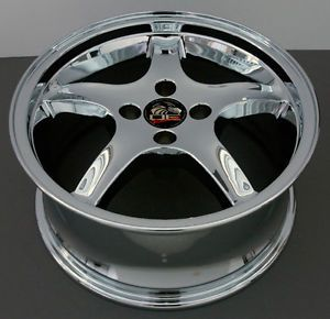 "17"" Rims Fit Mustang® Cobra 4 Lug Deep Chrome Wheel Set"