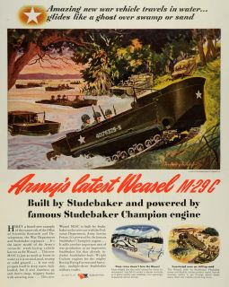1944 Ad Studebaker Corp M29 Weasel Tracked Vehicle Champion Engine Soldiers WWII