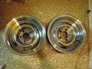 "Vintage Chrome Reverse Wheels 4 1 2"" Ford Mopar AMC 14x6"" Nice Originals 60'S"